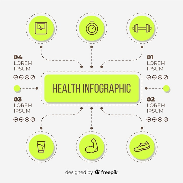 健康インフォグラフィックテンプレートフラットスタイル 無料ベクター