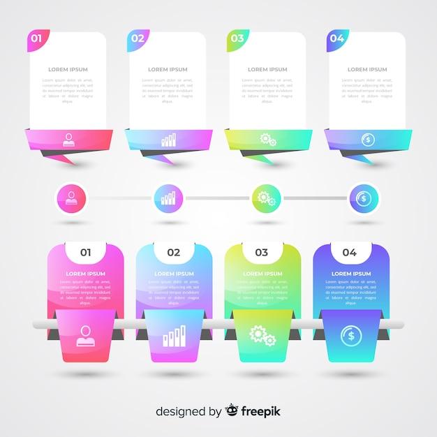 カラフルなインフォグラフィックフラットデザインのパック 無料ベクター