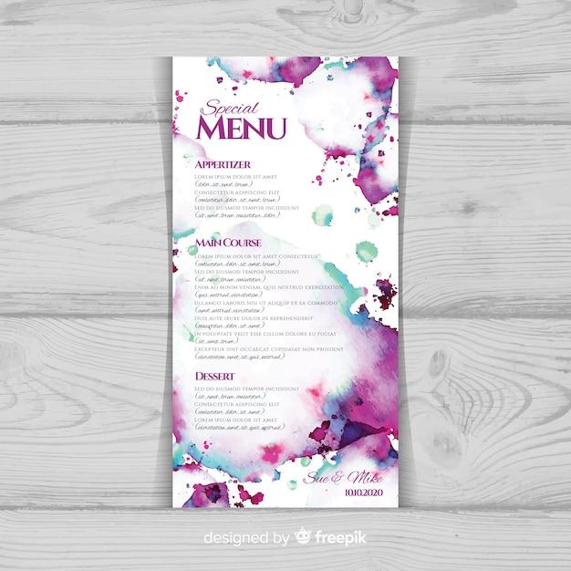 Шаблон меню акварель цветочные свадьбы Бесплатные векторы