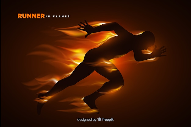 炎フラットデザインのランナーシルエット 無料ベクター