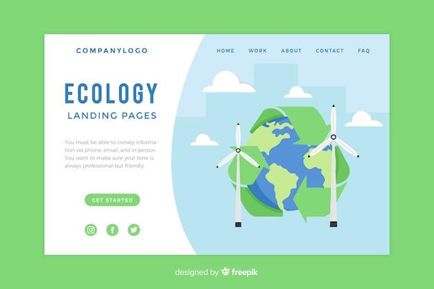 Шаблон целевой страницы плоской экологии Бесплатные векторы