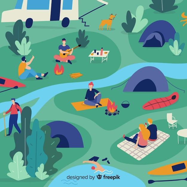 自然の中でキャンプをする人 無料ベクター