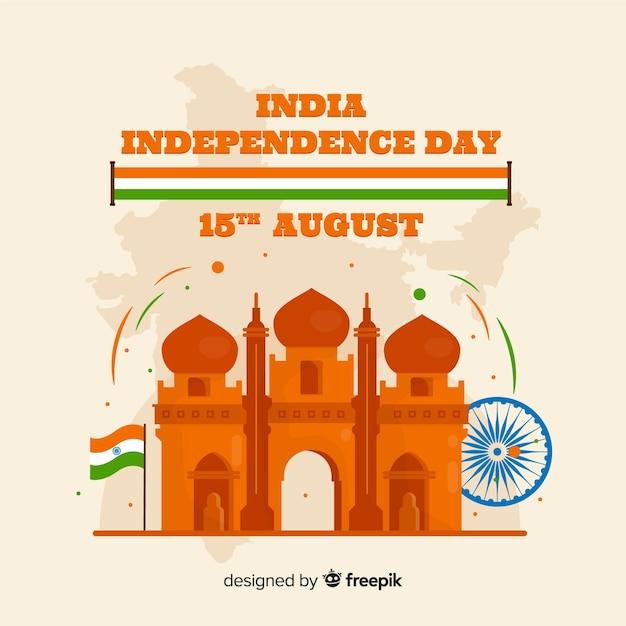 幸せなインドの独立記念日の背景 無料ベクター