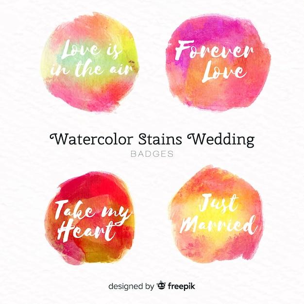 Акварельные пятна коллекция свадебных значков Бесплатные векторы