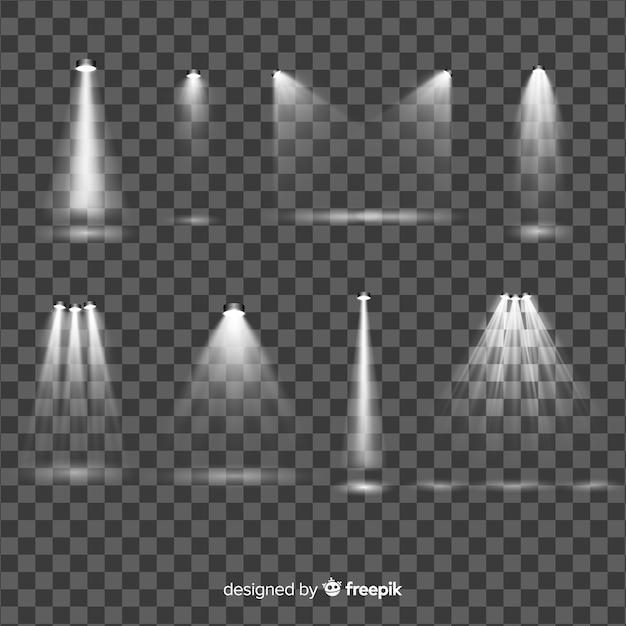 リアルなスポットライト照明集 無料ベクター