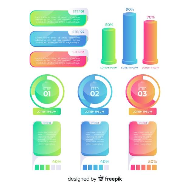カラフルなインフォグラフィック要素のパック 無料ベクター