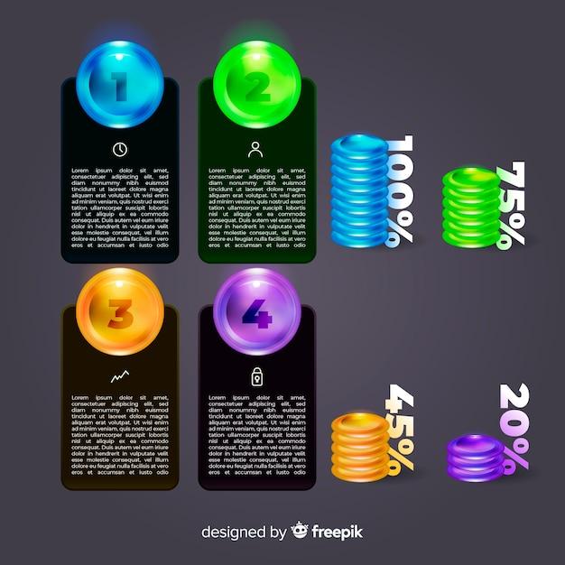 リアルな光沢のあるプラスチック製のインフォグラフィック要素のコレクション 無料ベクター