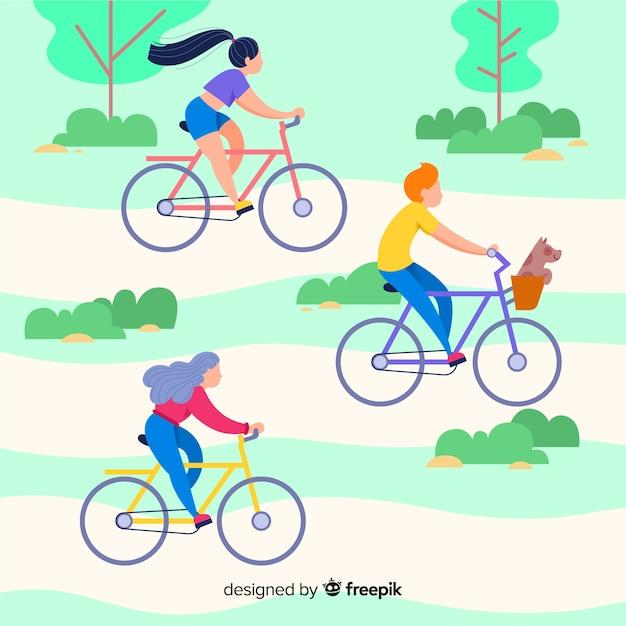 公園で自転車に乗る人 無料ベクター