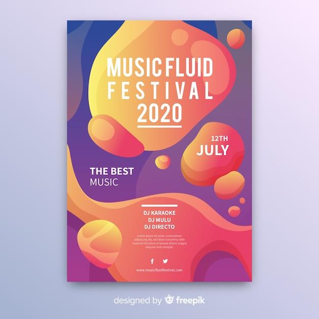 液体効果を持つ音楽祭ポスターテンプレート 無料ベクター