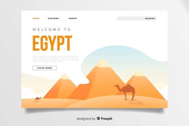 Добро пожаловать в шаблон целевой страницы в египте Бесплатные векторы