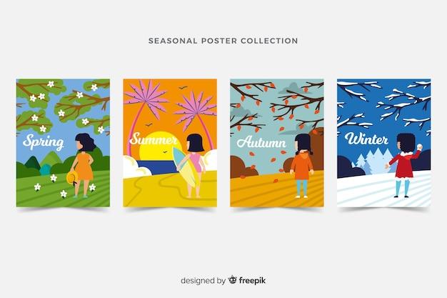 Коллекция рисованной сезонных плакатов Бесплатные векторы