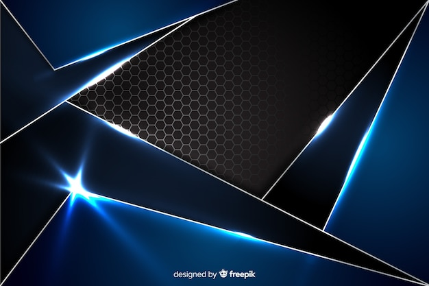 Абстрактный синий металлический фон с отражением Бесплатные векторы