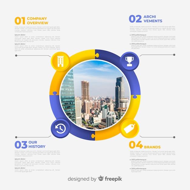 写真と近代的なビジネスのインフォグラフィック 無料ベクター