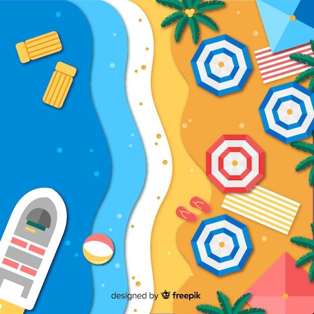 紙のスタイルの背景のビーチトップビュー 無料ベクター