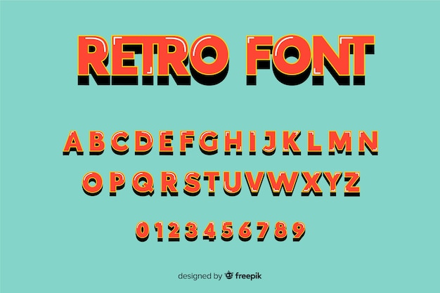 Плоский алфавит шаблон в стиле ретро Бесплатные векторы