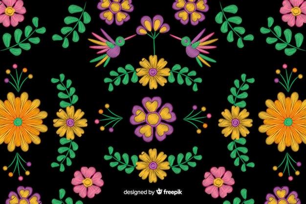 カラフルな刺繍メキシコの花の背景 無料ベクター