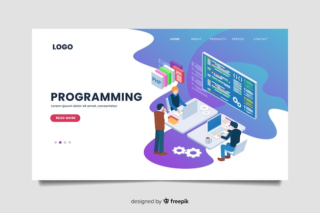 Шаблон целевой страницы изометрического программирования Бесплатные векторы