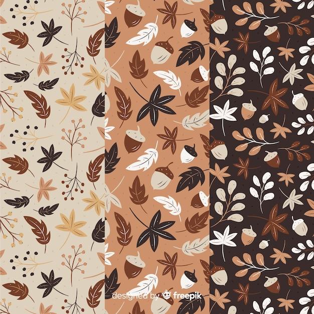 平らな秋のパターンのコレクション 無料ベクター