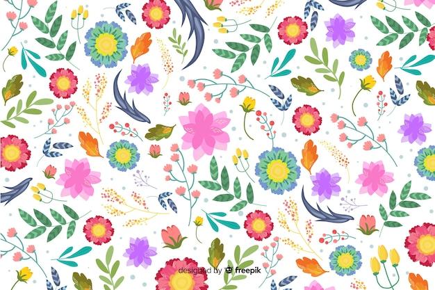 カラフルなエキゾチックな花と自然の背景 無料ベクター