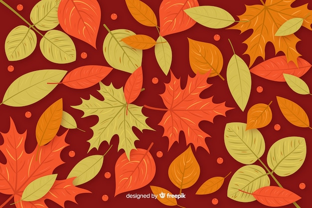 フラットデザイン秋の背景の葉 無料ベクター