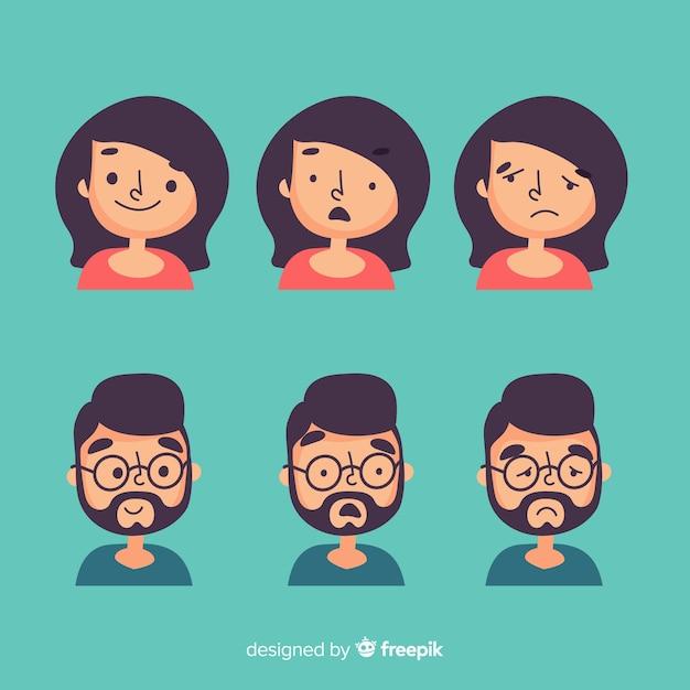 Набор выражения лица разных эмоций Бесплатные векторы