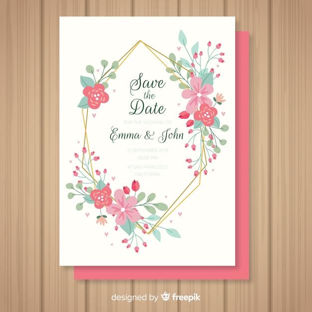カラフルな花の結婚式の招待状のテンプレート 無料ベクター