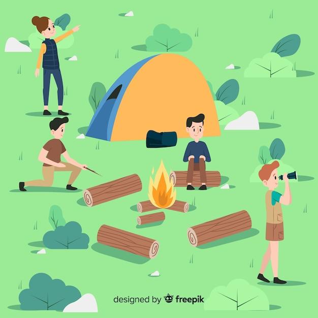 キャンプで楽しむ人 無料ベクター