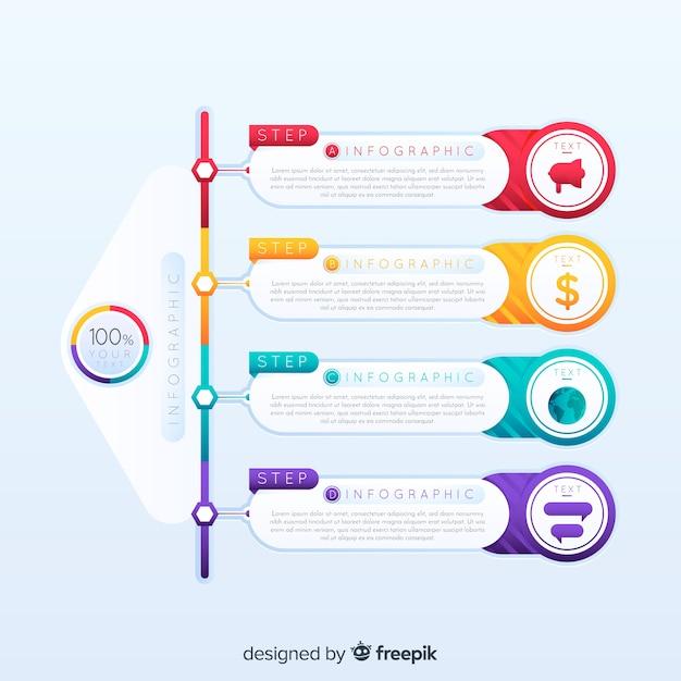 カラフルなインフォグラフィックステップデザインテンプレート 無料ベクター