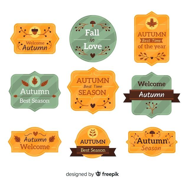フラットデザインの秋のバッジコレクション 無料ベクター