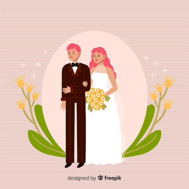 かわいい手描きの結婚式のカップル 無料ベクター