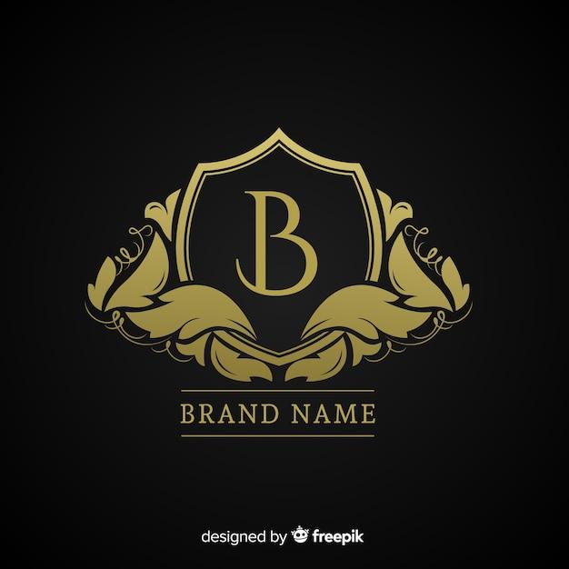Золотой элегантный логотип плоский стиль Бесплатные векторы