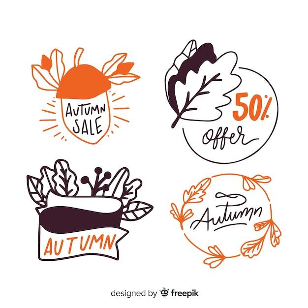 手描きの秋のバッジコレクション 無料ベクター