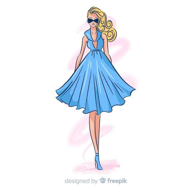 Нарисованная рукой иллюстрация женщины моды Бесплатные векторы