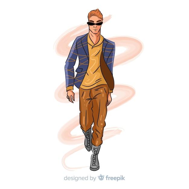 Нарисованная рукой иллюстрация человека моды Бесплатные векторы