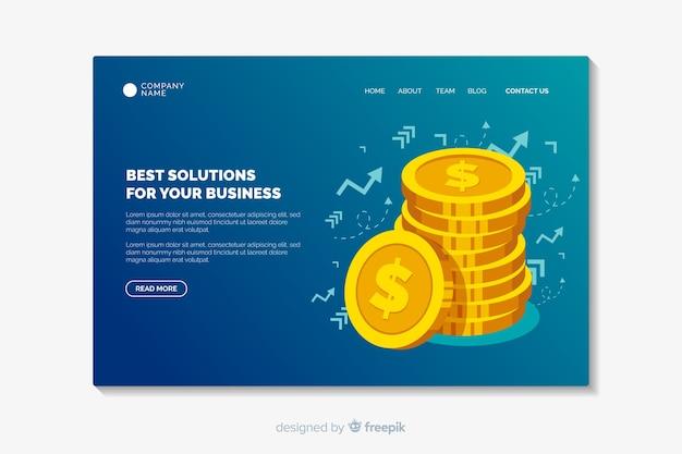 ビジネスランディングページテンプレートフラットデザイン 無料ベクター