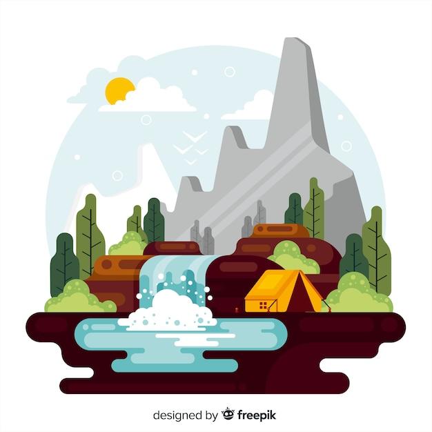 自然の装飾的な風景フラットデザイン 無料ベクター