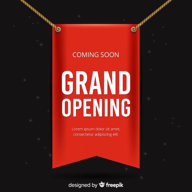 赤いバンデロールグランドオープンリアルなスタイル 無料ベクター