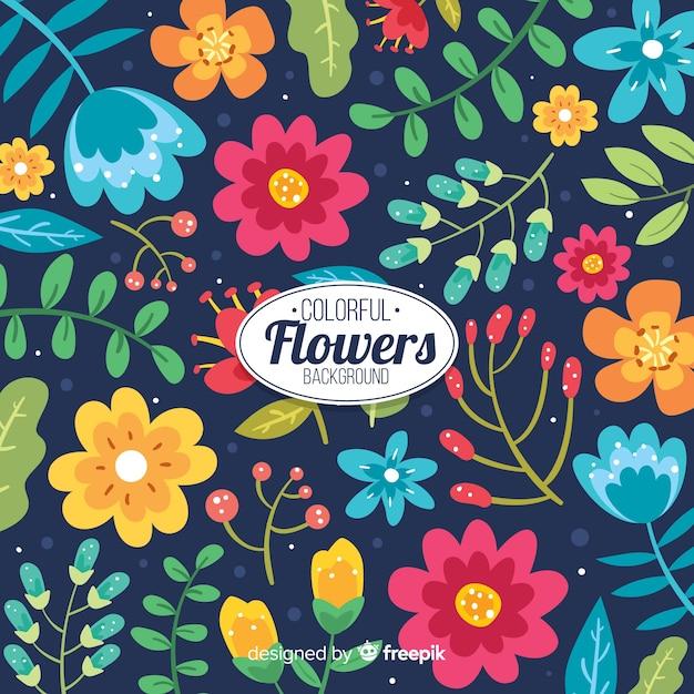 色とりどりの花で自然な背景 無料ベクター