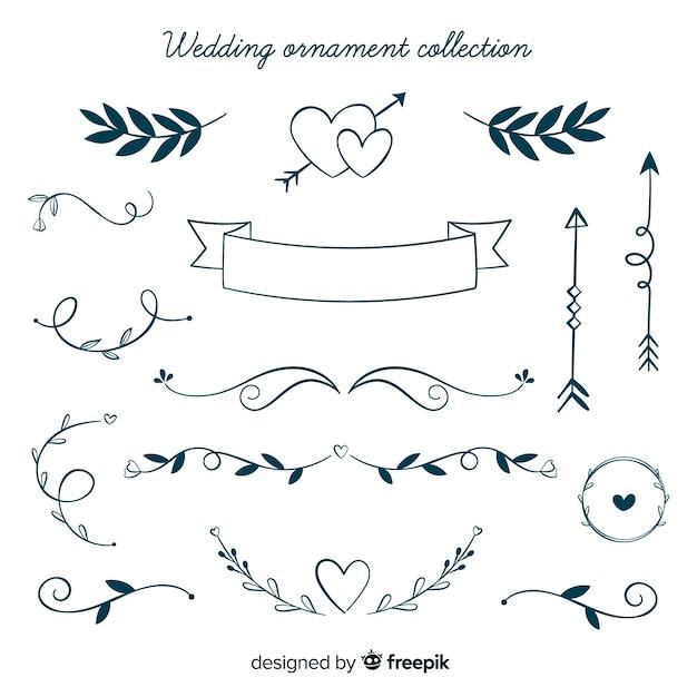 手描きの結婚式の装飾品コレクション 無料ベクター