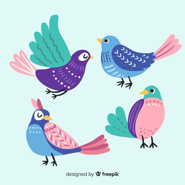 Коллекция птиц рисованной стиль Бесплатные векторы