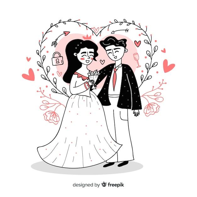 手描きの結婚式のカップルの背景 無料ベクター