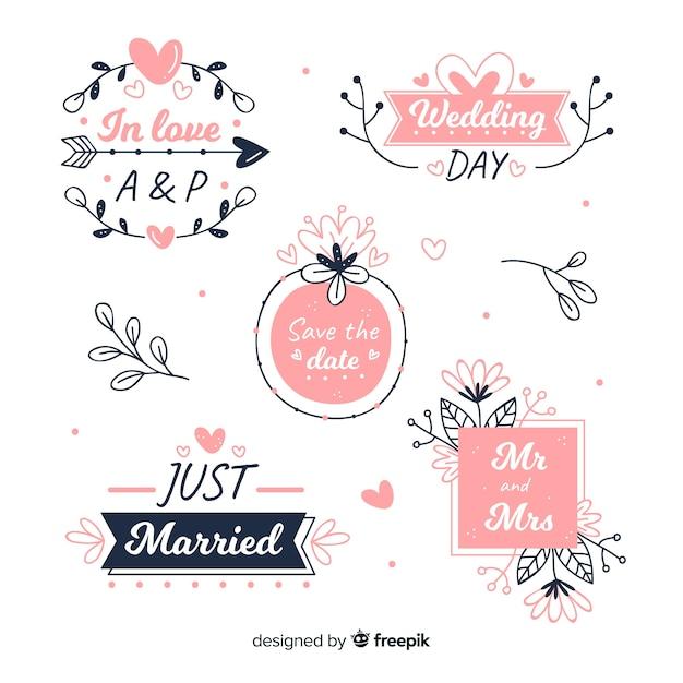 手描きの花の結婚式のバッジコレクション 無料ベクター