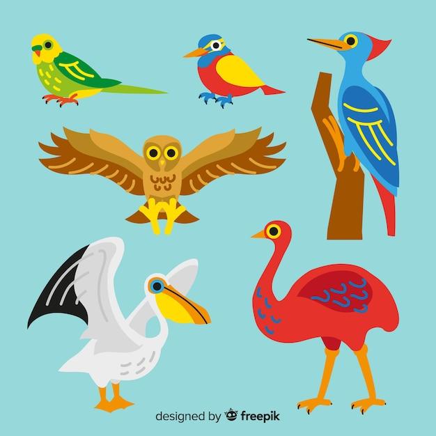 かわいい手描き鳥コレクション 無料ベクター
