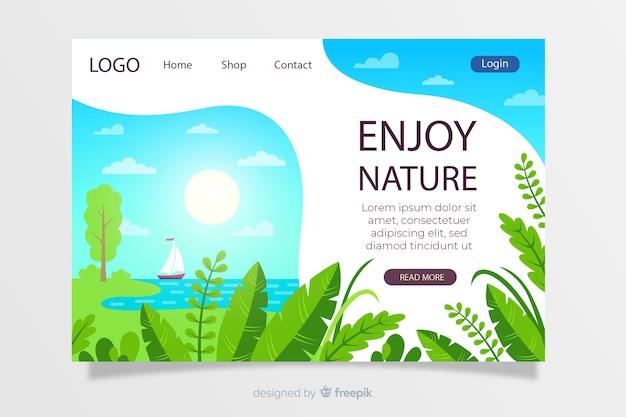 自然風景のランディングページテンプレート 無料ベクター