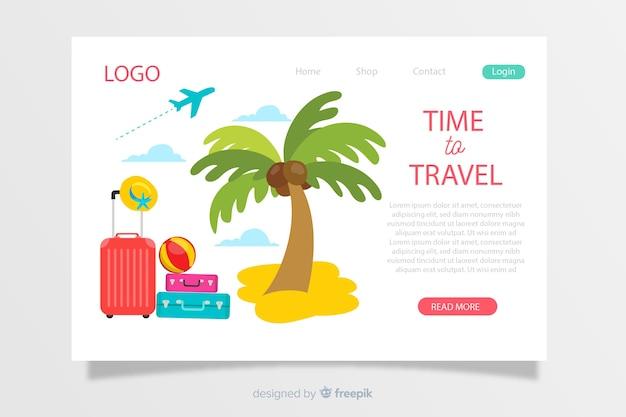 手描きの旅行ランディングページテンプレート 無料ベクター