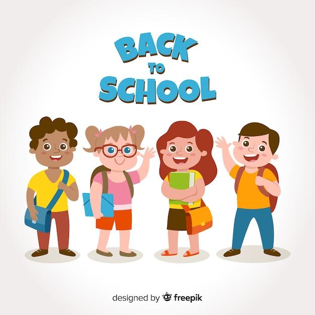 Мультяшные дети снова в школу Бесплатные векторы