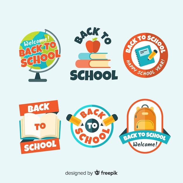 Плоская обратно в школу коллекция значков Бесплатные векторы