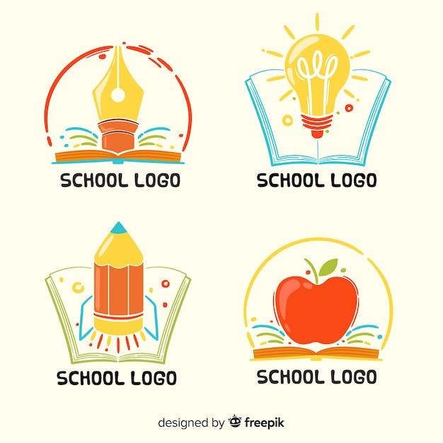 手描き学校ロゴコレクション 無料ベクター