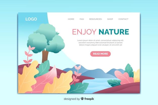 自然のランディングページテンプレート 無料ベクター