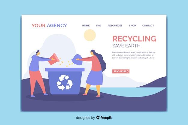 リサイクルのランディングページテンプレート 無料ベクター